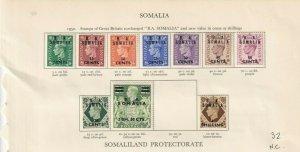 B A SOMALIA GEORGE 6TH CROWN ALBUM  PAGE  , MINT/USED