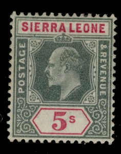 SIERRA LEONE EDVII SG84, 5s green and carmine, LH MINT. Cat £80.