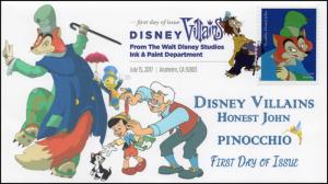 17-166, 2017, Disney Villains, Honest John, Pinocchio, DCP, FDC