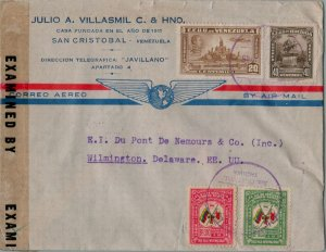 VENEZUELA POSTAL HISTORY WWII CENSORED AIRMAIL COVER ADDR USA CANCEL YRS'40