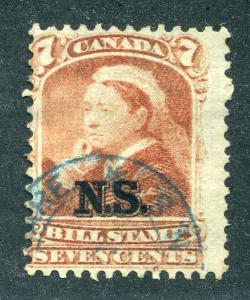 van Dam NSB8 - Nova Scotia Bill Stamp - 7c - Used - CARIS ID: CAB60