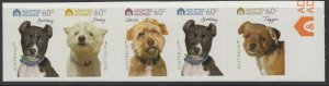AUSTRALIA SG3436/40 2010 DOGS (EX BOOKLET) SELF ADHESIVES MNH