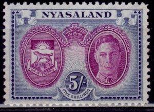 Nyasaland 1945, KGVI and Arms of Nyasaland, 5sh, sct#79, MNG