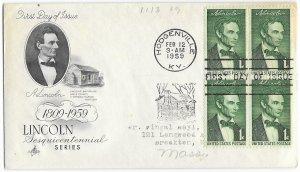 #1113, 1c Abraham Lincoln, Aristocrats cachet, block of 4