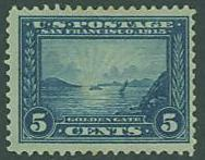 USA SC# 399 Panama-Pacific, Golden Gate, 5c, M No gum