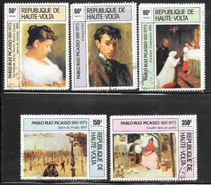 Burkina Faso #372-75,C220-21Paintings  set complete (CTO) CV $2.60