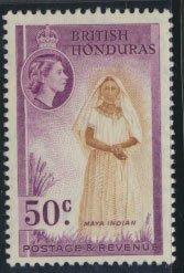 British Honduras SG 187 SC # 152 MLH  perf 13½ Maya Indian  see scan