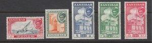 J28113 1957 zanzibar hv,s of set mnh #259-63 sultan