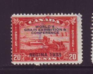 Canada Sc 203 1933 20c Grain Conference ovpt stamp used