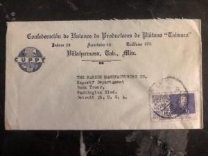1939 Villahermosa Mexico Banana Producers Commercial Cover To Detroit USA