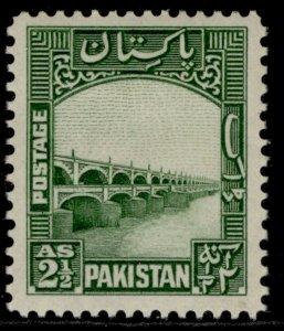 PAKISTAN GVI SG30, 2½a green, M MINT.