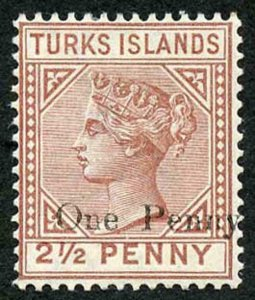 TURKS ISLANDS SG61 One Penny on 2 1/2d Red-brown m/mint
