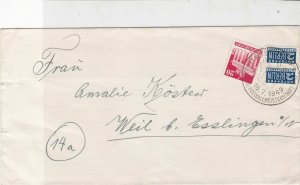 German 1949 Slogan Cancel Obligatory Tax Aid for Berlin Stamps Cover Ref 26801