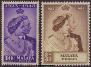 1948 Malaya Perlis Royal Silver Wedding, set of 2, SG 1-2, MH