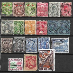 COLLECTION LOT #500 ZANZIBAR 20 STAMPS 1896+