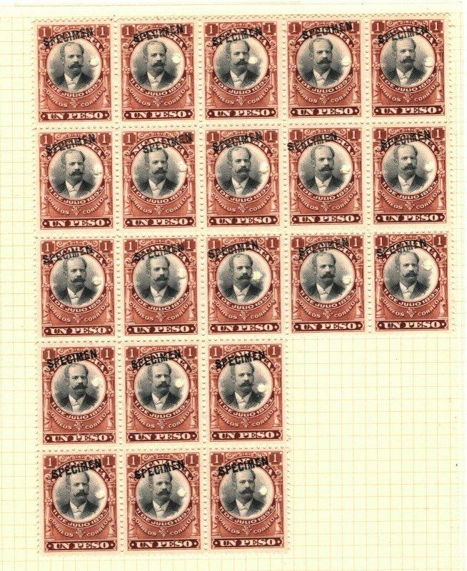 NICARAGUA 1903 *Revolution 1893* ABNCo. SPECIMEN 1p & 50c Blocks{21 & 4} UM MB15