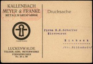 Germany 1923 Inflation Meter Luckenwalde Metal Fabricator Advertising Cov G67221