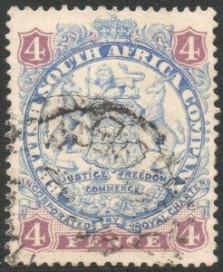 RHODESIA-1896-97 4d Blue & Mauve Sg 32b FINE USED V37871