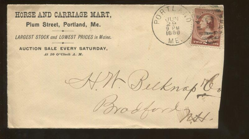 1886 Portland Maine Horse & Carriage Mart Weekend Auction Sale Advertising Cover
