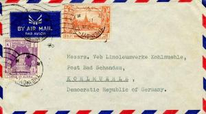Burma 25p Royal Palace and 1K Throne 1956 Theingyi-Ze Airmail to Kohlmuehle, ...