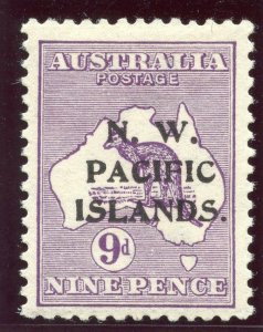 New Guinea 1915 KGV Roos 9d violet (Type C ovpt) MLH. SG 79. Sc 5.