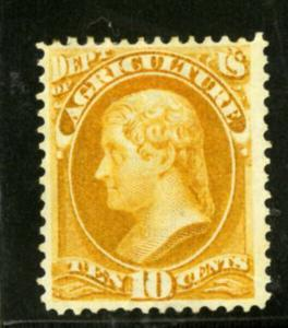 US Stamps # O5 10c Agriculture XF OG HINGED Yellow Shade Rare With Pfc Choice