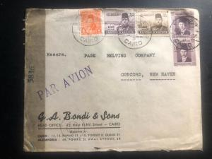1945 Cairo Egypt Gresham Commrcial Censored Cover to Concord NH USA