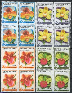 Burkina Faso 1996, Flowers, Orchids full set 4v in block of four MNH