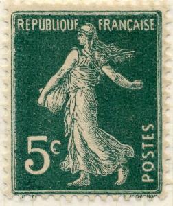 FRANCE - 1907 - Yv.137 5c vert Semeuse TYPE 2A (des carnets) - Neuf*