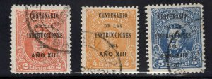 Uruguay Scott 211-213 Used overprint set 1913