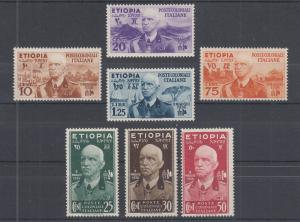 Ethiopia Sc N1-N7 MLH. 1936 Emperor Victor Emmanuel III under Italian Occupation
