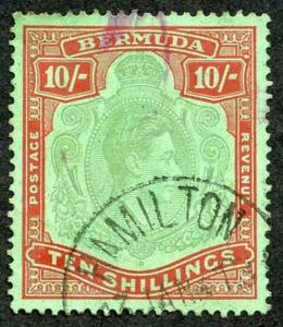 Bermuda SG119a KGVI 10/- Bluish Green and Deep Red/green Perf 14