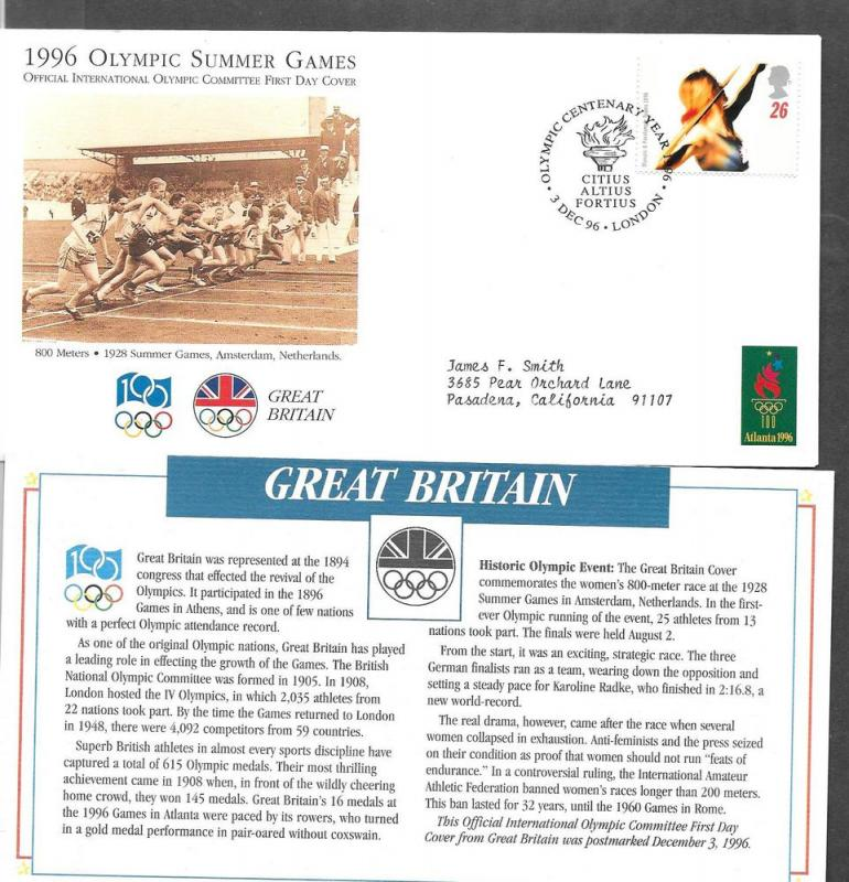 Great Britain 1689  FDC 1996 Olympics 8 X 4 Env