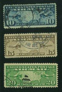 US 1926 Airmail Set, Scott C7-C9 used, Value = $4.85