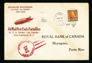 US Stamps XF Zeppelin Flight Cover Lakehurst To Los Angles To Puerto Rico 1925