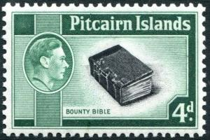PITCAIRN ISLANDS-1951 4d Black & Emerald-Green Sg 5b UNMOUNTED MINT V29328