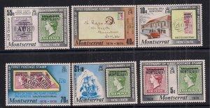 Montserrat 1976 QE2 Set Centenary of Postage Stamps Umm SG 356 - 361 ( B1298 )