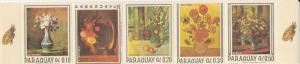 Paraguay # 1027, Still Life Paintings, Flowers Strip of 5 NH