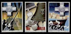 Malta 799-801 MNH George Cross, Artillery, Ships, Siege Bell