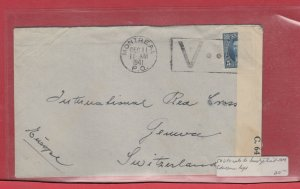 5 cent UPU rate 1st ounce to Switzerland censor C64 1941 Canada cover
