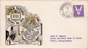 United States Texas Air Base Br. Brownsville 1943 violet double ring  1943-19...
