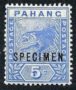 Pahang SG13 5c Blue opt Specimen Type D12 M/M