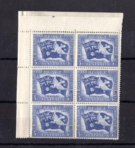 Australia KGVI 1945 3 1/2d Peace Block of 6 SG214 Mint MNH X3936