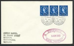 GB SCOTLAND 1968 cover HMS KEPPEL navy ship cachet - Greenock cds..........47924