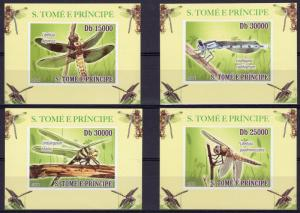 St.Thomas 2008  Dragonflies/Insects 4 Souvenir Sheets Imperforated MNH