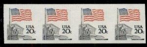 US #1895d, 20¢ Flag Over Supreme Court, Imperf Strip of 4, og, NH, VF