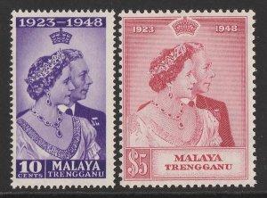 MALAYA - Trengganu : 1948 KGVI Silver Wedding set 10c & $5. MNH **.