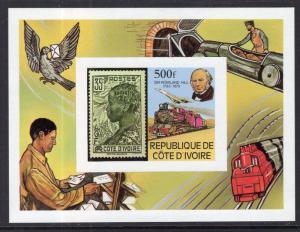 Ivory Coast 519 Rowland Hill Souvenir Sheet MNH VF