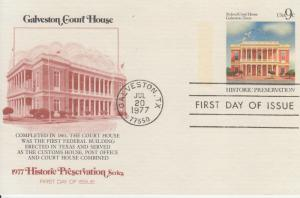 1977 Galveston Court House Post Card (Scott UX71) FDOI Fleetwood