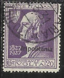 COLONIE ITALIANE TRIPOLITANIA 1927 VOLTA 20 CENT. USED TIMBRATO